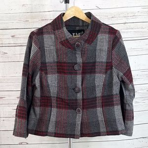 Live a Little (LAL) cropped red gray plaid jacket